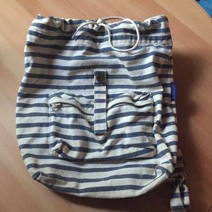 BAGGU striped navy and white canvas back pack